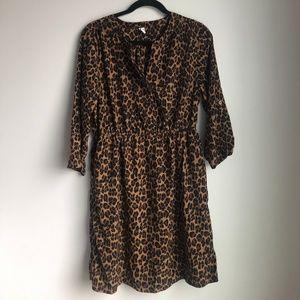 Old Navy Leopard Split Neck Print Shirt Dress sz L